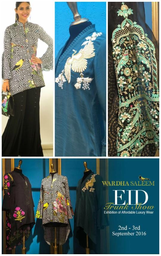 Exhibition Hit List: Wardha Saleem's Eid trunk show on the 2nd-3rd September!