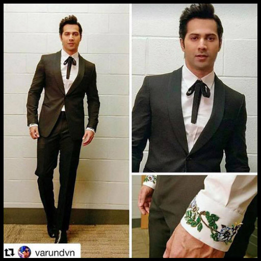 Varun Dhawan in Emporio Armani tuxedo,Gucci shirt with embroidered cuffs and bowtie and ysl shoes