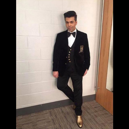 Karan Johar in Gucci bowtie and YSL shoes