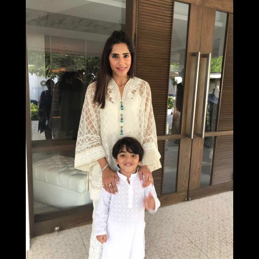 Maha Hussain celebrates Eid with her son in a beautiful white Menahil and Mehreen outfit