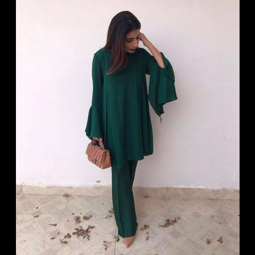 Samiya Ansari wears a gorgeous emerald ensemble by Nomi Ansari