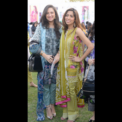 Alizah Raza and Natasha Saleem wearing Elan Lawn