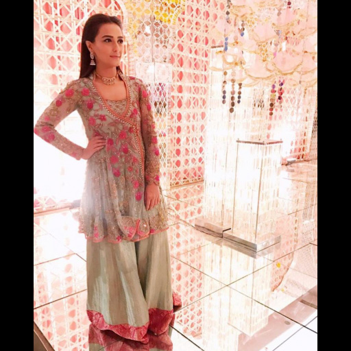 Momal Sheikh looks effortlessly chic in a mint green FTA outfit.