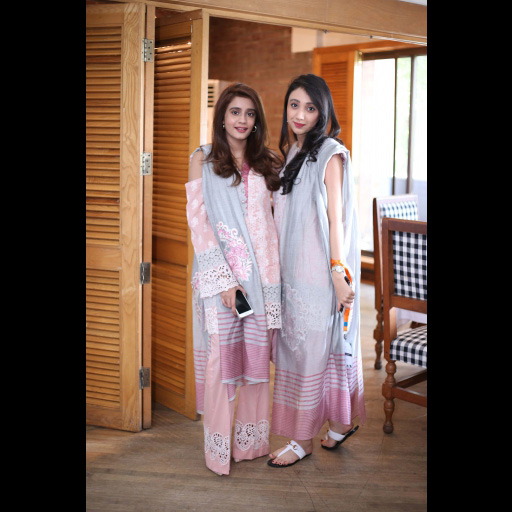 Mehek Raza Rizvi and Ayten Liaqat wearing Zainab Chottani's ChikanKari Eid Festive Collection 2018