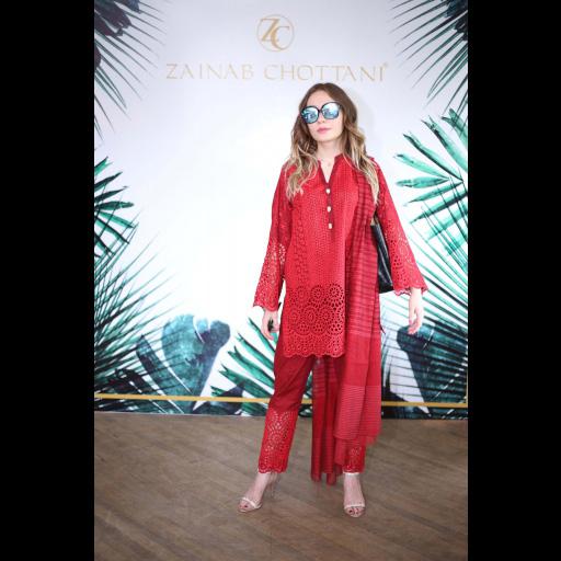 Ramina Maripova wearing Zainab Chottani's ChikanKari Eid Festive Collection 2018