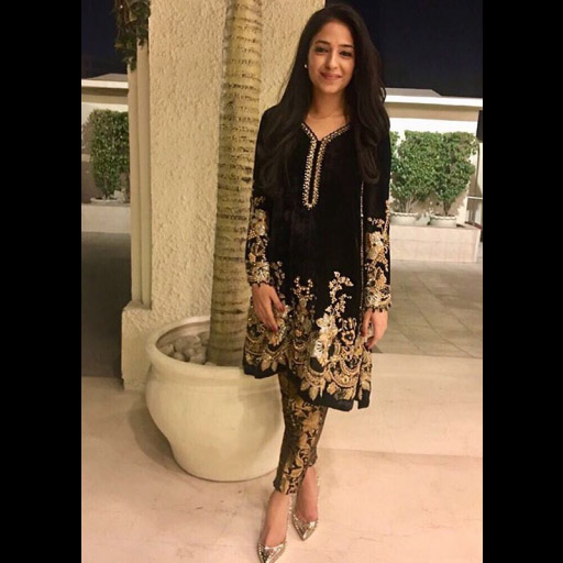 Manal Khalid in a black velvet embellished formal by Tena Durrani