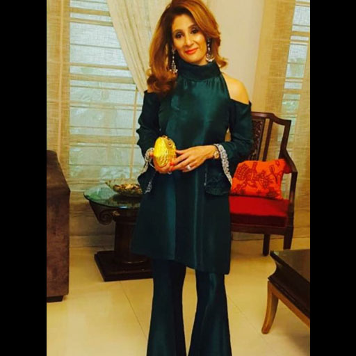 Shaziya Sattar in bottle green matching separates by ayesha somaya