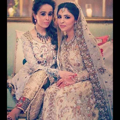 Iqraa H Mansha (left), wears a unique jewelled outfit by Ammara Khan to beautiful Mariam's wedding. Animal print jodhpur variations finish off the unique jacket.