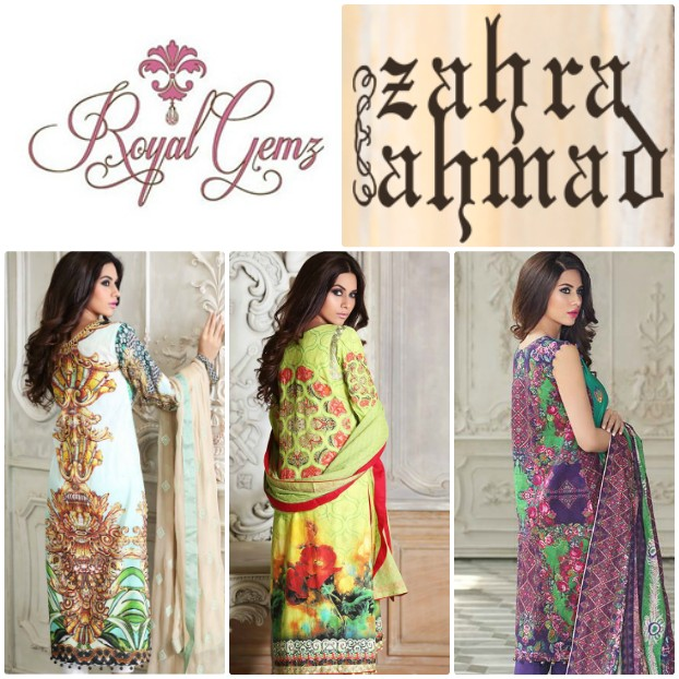 Royal Gemz Exclusive Retailer for Zahra Ahmed S/S'15 Lawn in North America!
