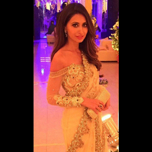 Bronze and gorgeous Huma Sarfraz in a custom- created Ivory sari at a recent reception in Karachi