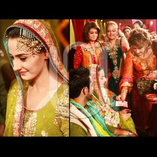 Actor Momal Sheikh in a festive olive peshwas on her Mehndi