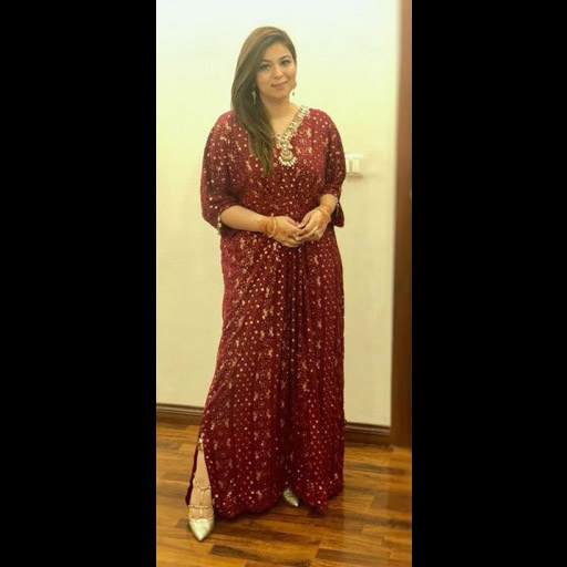 Spotted wearing a Nadia Ellahi Kaftan