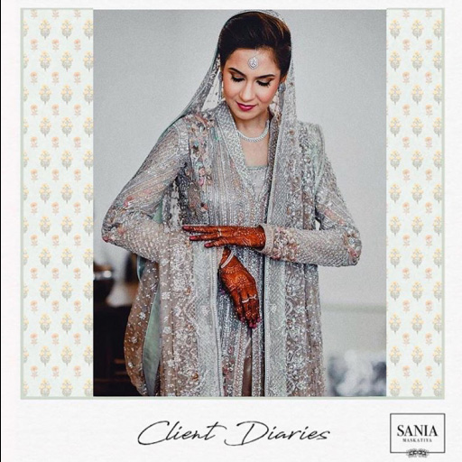 Kiran Arif in a custom made bridal from the designer