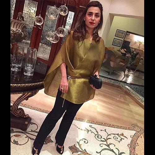 Taiba Malik in a Sania Maskatiya luxury pret cape