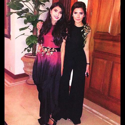 Zara Mandviwalla and Unzila Husain in Maheen Karim Evening formals