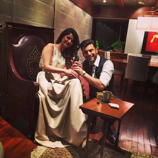 Fawad Afzal Khan with his wife Sadaf