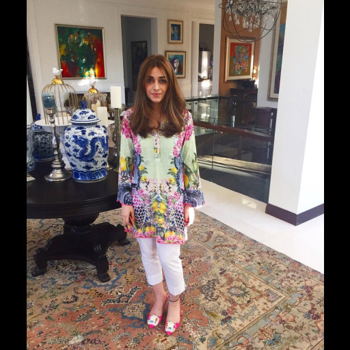 Sasha in a Farah Talib Aziz Silk Shift Tunic