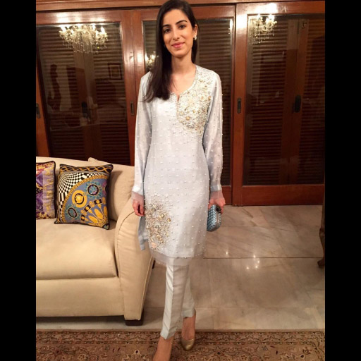 Myra Kassim in a Nazli Akbar Powder Blue Pearl and Swaroski embellished outfit