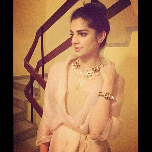Sanam Saeed glowing in a Misha Lakhani glammed up with jewels courtesy of Soma Intl