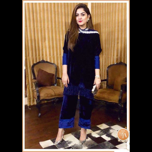 Rabia Waheed sports embellished navy separates.