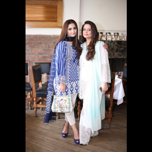 Maliha Akram and Anny Shoaeb wearing Zainab Chottani ChikanKari Eid Festive Collection 2018