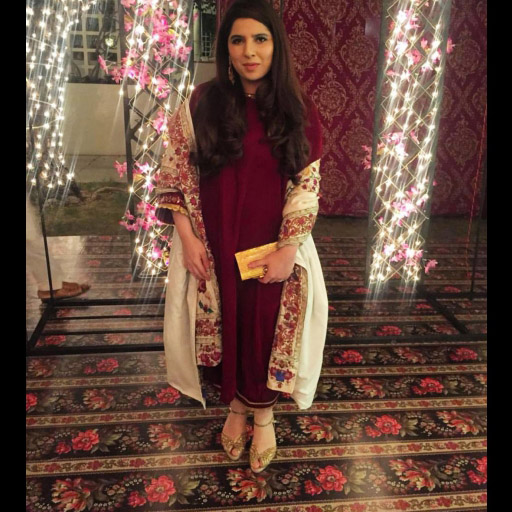 Amna Arshad spotted in a beautiful maroon velvet izaar and kurta paired with an embroidered chadar from her own collection at a Shendi.