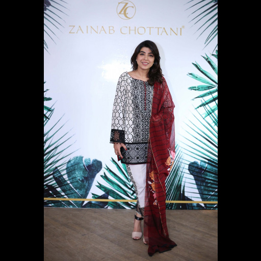 Sadaf Zarrar wearing Zainab Chottani's ChikanKari Eid Festive Collection 2018