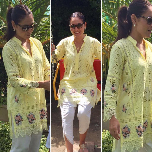 Tanya Mirza giving us Major Summer Vibes in a Hand Embroidered Lemon Tunic by Sanam Chaudhri on Eid