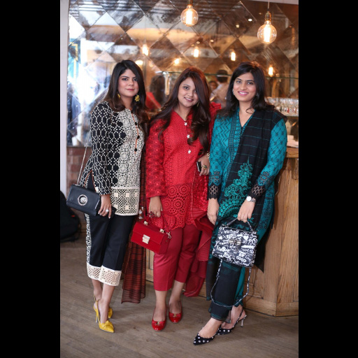 Tooba Chottani, Vardah Alam and Alifyah Kisat wearing Zainab Chottani Chikankari Eid Festive Collection 2018