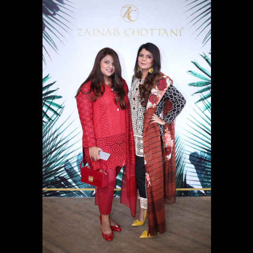 Vardah Alam and Tooba Chottani wearing Zainab Chottani Chikankari Eid Festive Collection 2018