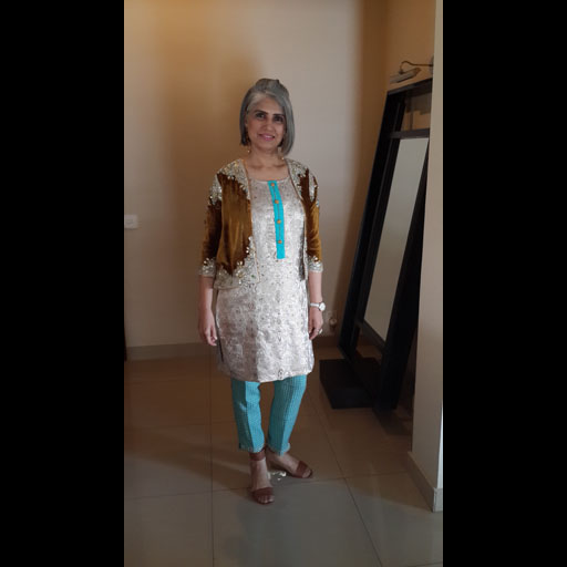 Yasmeen Jiwa in her own design