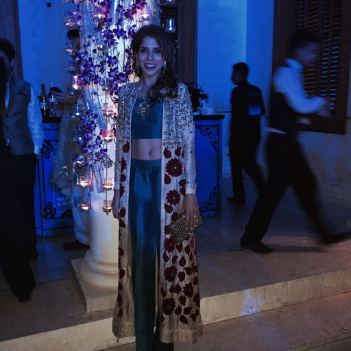 Mariam Ashraf super chic in a striking floral bud embroidered and detailed coat with teal cropped choli and trousers