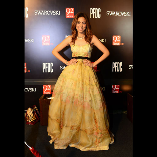 Natasha Saleem is positively radiant in a faint printed Elan by Khadijah Shah ball gown