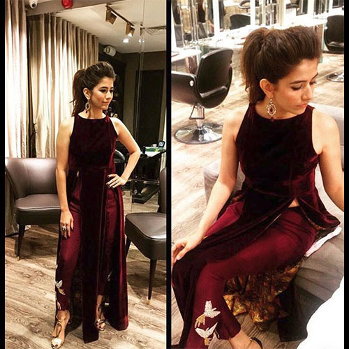Syra Shehroze in a super stylish custom made Sania Maskatiya outfit