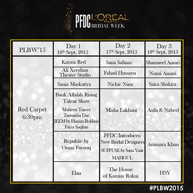 PFDC L'Oréal Paris Bridal Week 2015 #PLBW2015 16th-18th September!