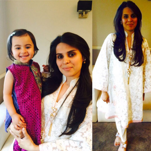 Sana T and baby Noor both in Sana T Designs on Eid in London
