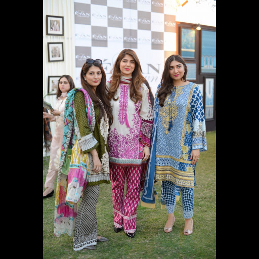 Saleeha Shah, Sana Shah and Nida Bano wearing Elan Lawn