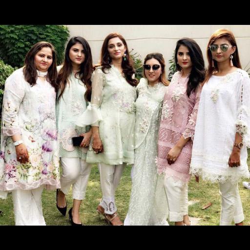 The Jaffrani girls celebrate Eid in style all carrying their pretty pastel Farah Talib Aziz Eid ensembles