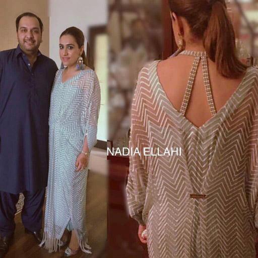 Rabeea looks super glamorous in Kaftan by Nadia Ellahi this Eid