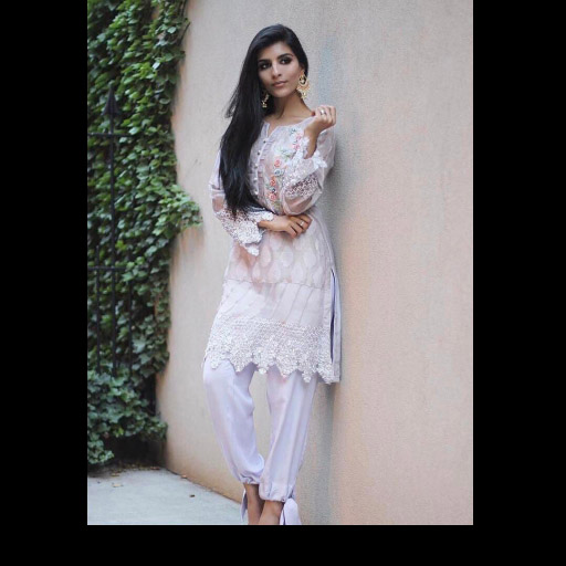 Roh Siddiqui celebrating eid wearing Phatyma Khan official's 'spring lilac' outfit from the Eid collection