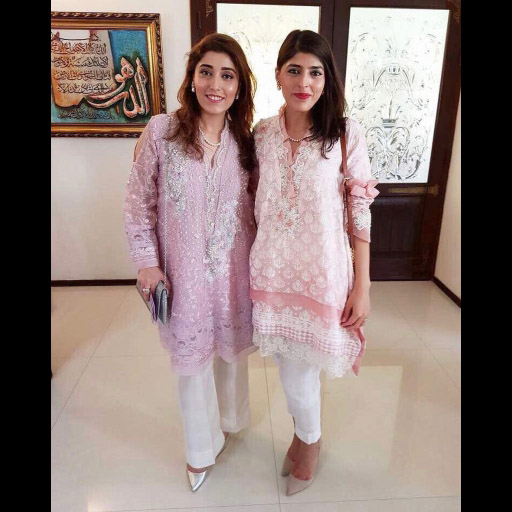 Beautiful sisters Mahwish and Nazish looking pretty in pastel Farah Talib Aziz outfits this Eid