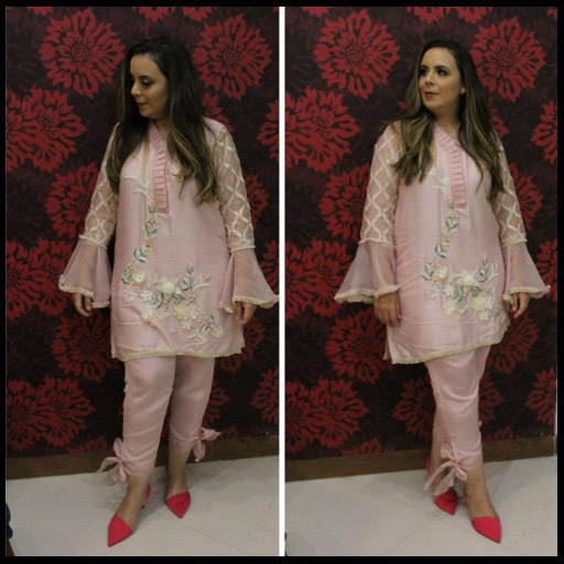 Najwa Stuns in Her Own Label, Wearing a Blush Pink Ensemble on Eid