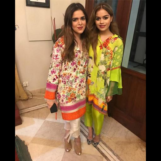Gorgeous Sisters Hiba and Mariam Spotted in Shamsha Hashwani on Eid