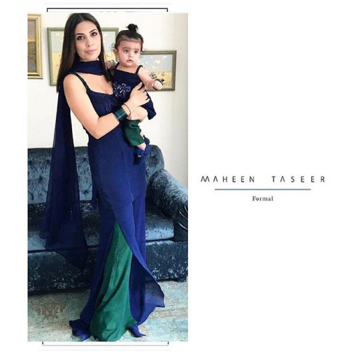 Hot Mama Maheen Taseer Spotted with Her Little one in her Own Label on Eid