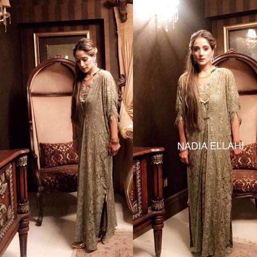 Nazish puts her Best Foot Forward in Nadia Ellahi's Much Coveted Chicken Kari Kaftan in Olive Green this Eid