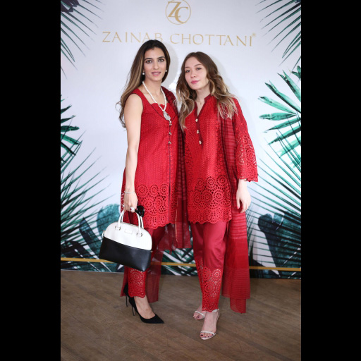 Zainab Yousaf and Ramina Maripova wearing Zainab Chottani Chikankari Eid Festive Collection 2018