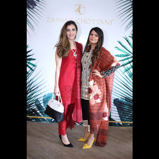 Zainab Yousaf and Tooba Chottani wearing Zainab Chottani Chikankari Eid Festive Collection 2018
