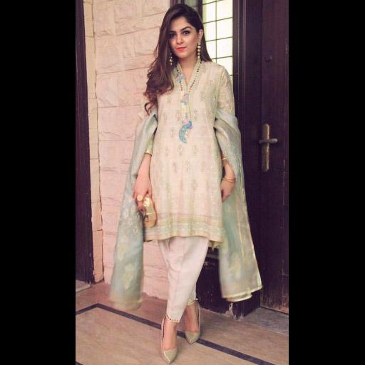 Rabia Usman looking uber elegant in a traditional Farah Talib Aziz shalwar kameez in Ivory gold and aqua this Eid