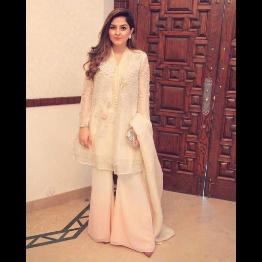 Rabia Usman looking lovely in an ivory Farah Talib Aziz ensemble while celebrating Eid in Lahore