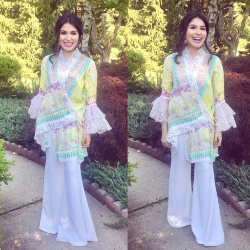 US based influencer Farah Atta looking gorgeous this Eid in a FarahTalibAziz silk luxe wrap